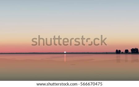 vector sunset landscape river