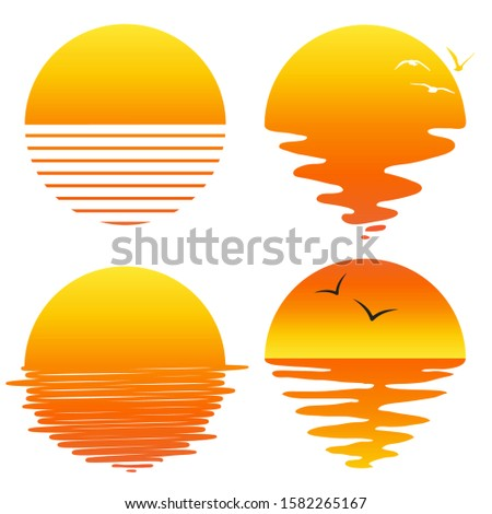 vector sunset or sunrise icons isolated on white background. sun and sea reflection logo for nature and travel background illustrations. set of flat symbols of sunsets and sunrises with seagull birds
