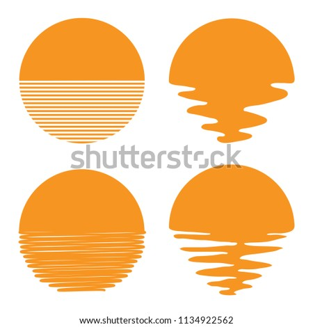vector sunset or sunrise icons