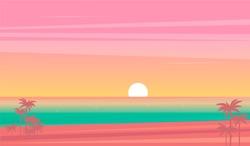 vector sunset tropical beach illustration. flat style nature landscape, seascape
