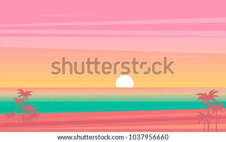 vector sunset tropical beach