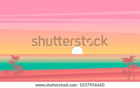 vector sunset tropical beach