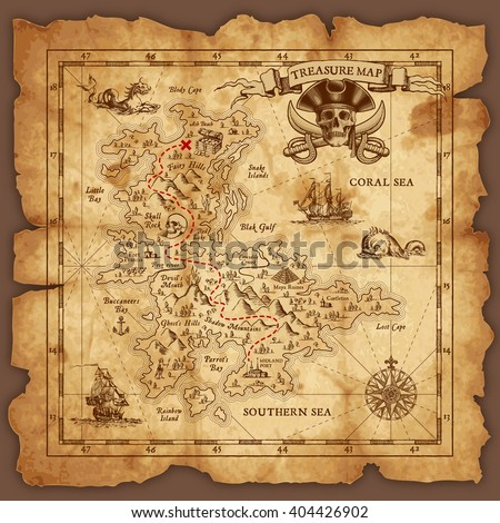 Vector super detailed Pirate Treasure map on a ruined old Parchment. All elements are organized with layers. #404426902