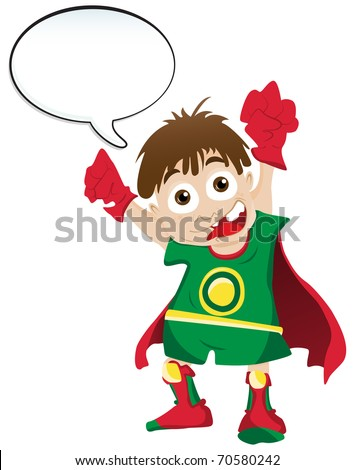 Vector - Super hero Boy with Speech Bubble