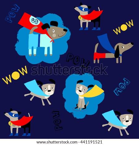 vector super hero flying dogs