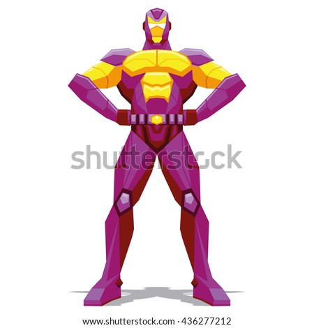 Vector Superhero Posing Isolated On White Background