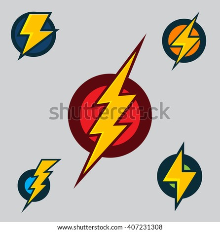 vector superhero symbols set of