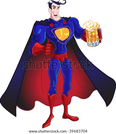 vector Superhero with beer isolated on a white background