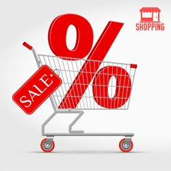 Vector Supermarket Shopping Cart Full of 3D Big Red Percentage Sign and a Sale Label. Editable Hi-Detailed Vector Illustration Isolated on White. Big Discount Concept. Red Shopping Logo as a Bonus.