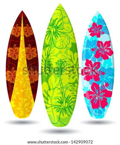 vector surf boards   hibiscus