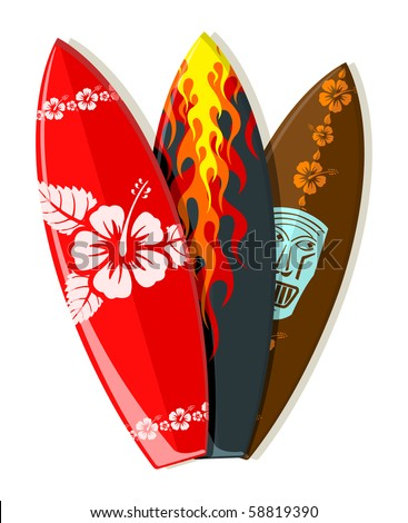 Vector surf boards with Hawaiian patterns