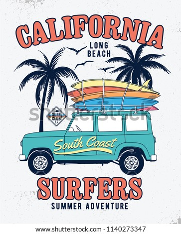 Vector surf car illustration with surfboards and palm trees. For t-shirt prints and other uses.
