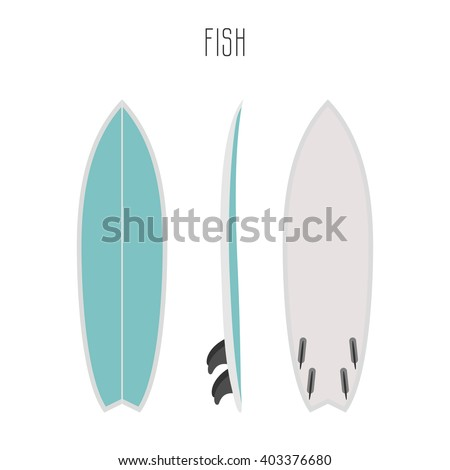 vector surf fish board with