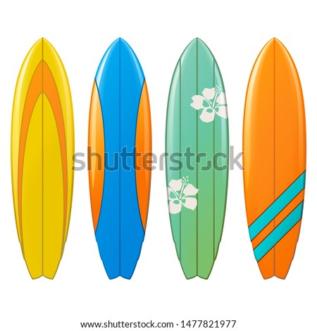 Vector Surfboard Icons isolated on white background Сток-фото ©