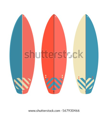 Vector surfboard set  isolated on white background. Vector illustration.