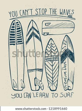 vector surfboard sketch print