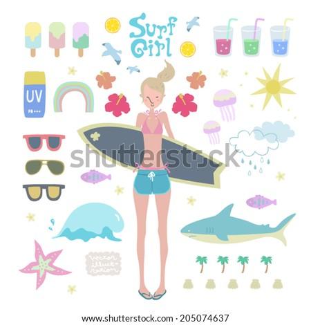 Vector Surfer girl Illustration set