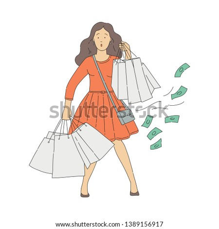 Vector surprised woman with lots of shopping bags with spontaneous and undesirable purchases. Concept of shopaholism and consumerism. Unhappy young woman with shopping addiction spent money in mall.