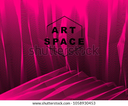 Vector surreal illusion art for design, line art 3d dimensional textured inner space, hallucinogen drug trip theme. Fantastic psychedelic trendy modern op art, optical dimensional illusion.