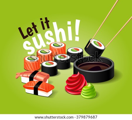Vector sushi illustration with realistic 3d effect. Japanese food.