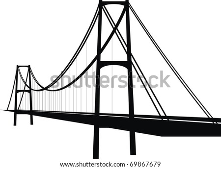Vector suspension cable bridge - isolated illustration on white background, black silhouette. - stock vector