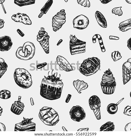 Vector sweets. Seamless pattern with different kinds of sweets. Pastry, sweetmeat and desserts. Cakes, ice cream, donuts, cupcakes, candy, bakery.