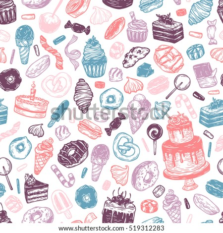 vector sweets seamless pattern