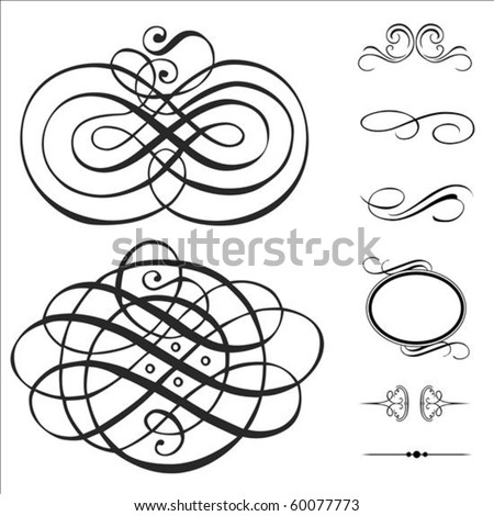 Vector swirl ornament set. Pieces are separate and easy to edit.