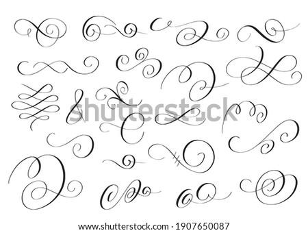 Vector swirls set. Pen calligraphy flourish design Stockfoto ©