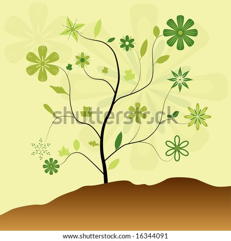 Vector swirly tree with large green flowers and leaves