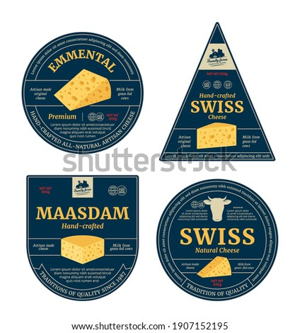 Vector swiss cheese labels and packaging design elements. Swiss cheese detailed icons
