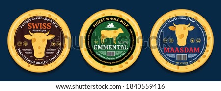 Vector swiss cheese round labels and packaging design elements. Swiss cheese detailed illustrations