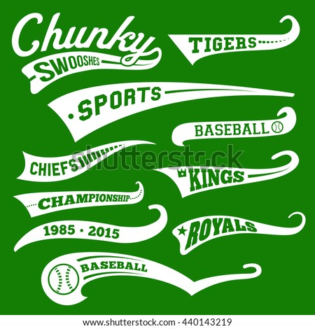 Vector Swooshes, Swishes, Whooshes, and Swashes for Typography on Retro or Vintage Baseball Tail Tee shirt