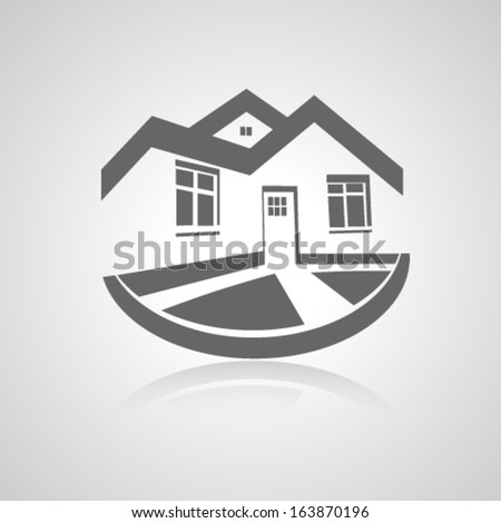 Vector symbol of home, house icon, realty silhouette, real estate