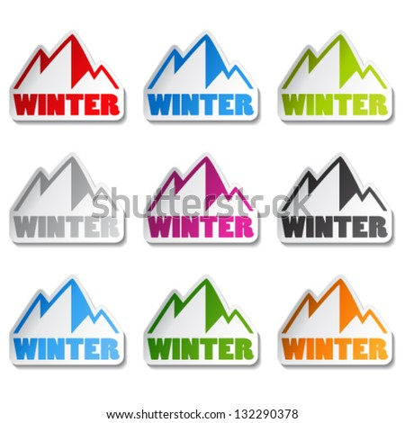 Vector symbol of mountains - sticker of winter