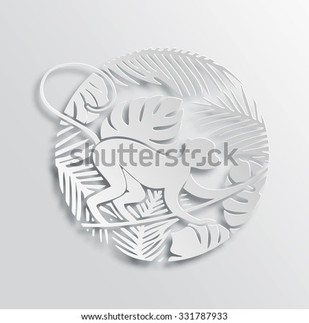 Vector Symbol of 2016 New Year - Monkey. Chinese Zodiac Sign. Paper Cutting Oriental Tradition Style Illustration.