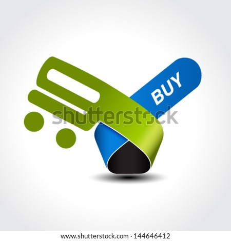 Vector symbol of shopping cart, trolley, item, button