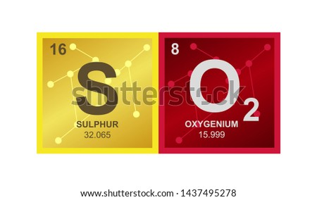 Vector symbol of SO2 sulfur dioxide molecule – toxic gas on the background from connected molecules. Illustration is isolated on a white background.