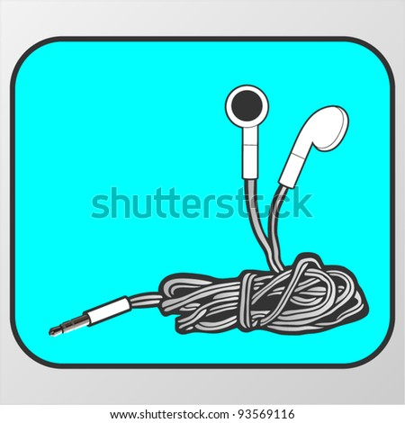 Vector symbol of tangled earphones - stock vector
