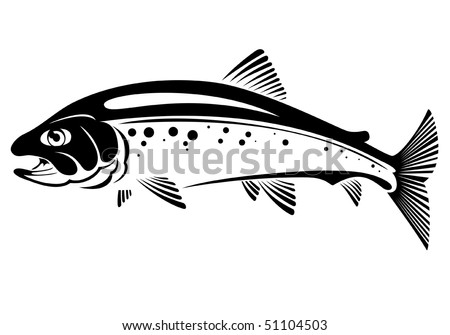 vector symbol of trout fish