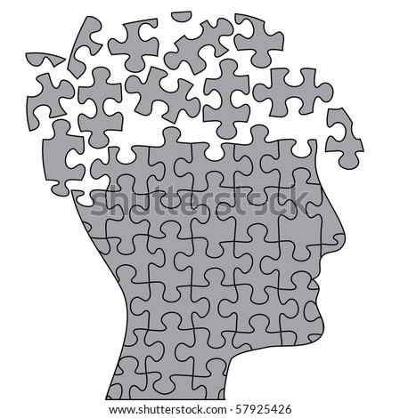 vector symbolic illustration with brain and puzzle