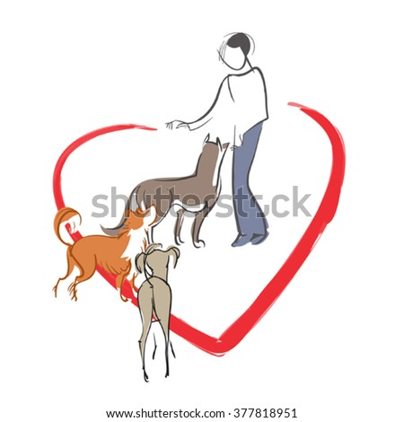 Vector symbolic image of a girl - a 