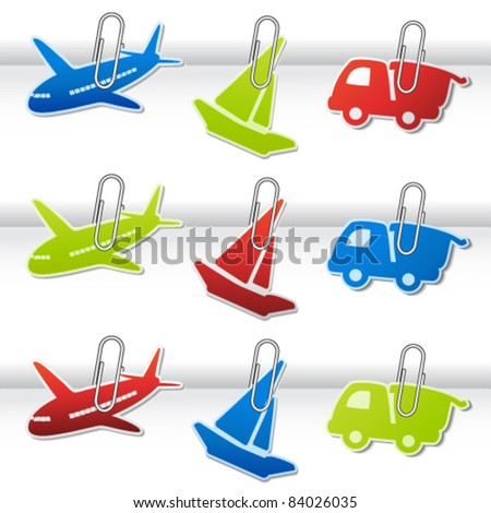 Vector symbols for delivery with paperclip - car, airplane, ship