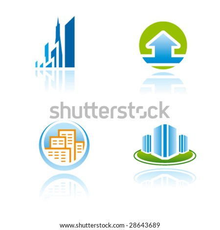 Vector symbols (icons, signs, logos) for construction, real estate industry or other