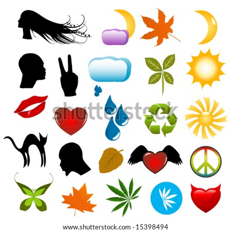 stock vector : Vector symbols, nature icons and human silhouettes clip-art