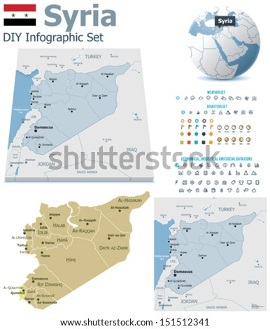 Vector Syria political and administrative divisions maps, Syria flag, Earth globe showing country location, map markers and related icon set