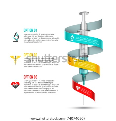 Vector syringe infographic. Medical and healthcare template for presentation with 3 steps, options, parts or processes.