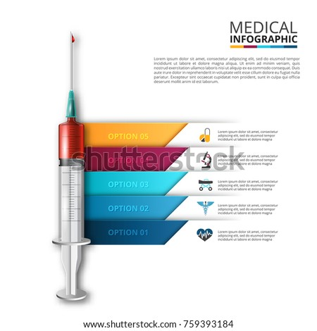 Vector syringe infographic. Medical and healthcare template for presentation with 5 steps, options, parts or processes.