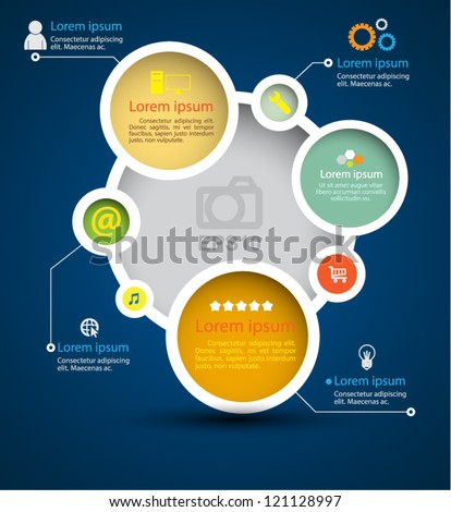 Vector system circle color / loop business / modern template / education plan / business plan