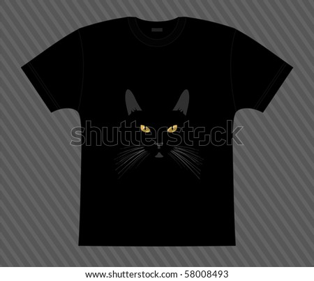 vector t shirt black cat in